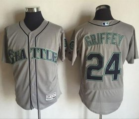 Wholesale Cheap Mariners #24 Ken Griffey Grey Flexbase Authentic Collection Stitched MLB Jersey