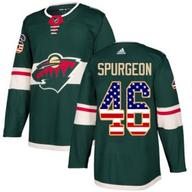 Wholesale Cheap Adidas Wild #46 Jared Spurgeon Green Home Authentic USA Flag Stitched Youth NHL Jersey