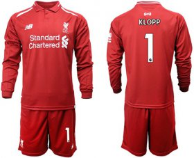 Wholesale Cheap Liverpool #1 Klopp Home Long Sleeves Soccer Club Jersey