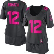 Wholesale Cheap Nike Jets #12 Joe Namath Dark Grey Women's Breast Cancer Awareness Stitched NFL Elite Jersey