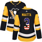 Wholesale Cheap Adidas Penguins #3 Olli Maatta Black Home Authentic USA Flag Women's Stitched NHL Jersey