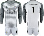 Wholesale Cheap Leicester City #1 Schmeichel Grey Goalkeeper Long Sleeves Soccer Club Jersey