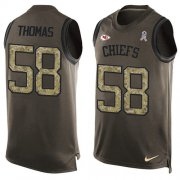 Wholesale Cheap Nike Chiefs #58 Derrick Thomas Green Men's Stitched NFL Limited Salute To Service Tank Top Jersey