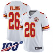 Wholesale Cheap Nike Chiefs #26 Damien Williams White Youth Stitched NFL 100th Season Vapor Untouchable Limited Jersey