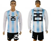 Wholesale Cheap Argentina #25 Tagliafico Home Long Sleeves Soccer Country Jersey