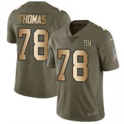 Wholesale Cheap Nike Giants #78 Andrew Thomas Olive/Gold Men's Stitched NFL Limited 2017 Salute To Service Jersey