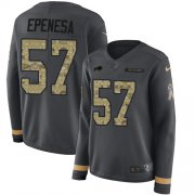 Wholesale Cheap Nike Bills #57 A.J. Epenesas Anthracite Salute to Service Women's Stitched NFL Limited Therma Long Sleeve Jersey