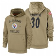 Wholesale Cheap Pittsburgh Steelers #30 James Conner Nike Tan 2019 Salute To Service Name & Number Sideline Therma Pullover Hoodie