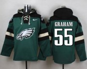 Wholesale Cheap Nike Eagles #55 Brandon Graham Midnight Green Player Pullover NFL Hoodie