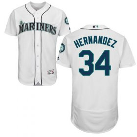 Wholesale Cheap Mariners #34 Felix Hernandez White Flexbase Authentic Collection Stitched MLB Jersey