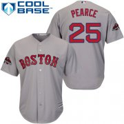 Wholesale Cheap Red Sox #25 Steve Pearce Grey New Cool Base 2018 World Series Champions Stitched MLB Jersey