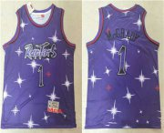 Wholesale Cheap Men's Toronto Raptors #1 Tracy McGrady Starry Purple Hardwood Classics Soul Swingman Throwback Jersey