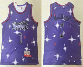 Wholesale Cheap Men\'s Toronto Raptors #1 Tracy McGrady Starry Purple Hardwood Classics Soul Swingman Throwback Jersey