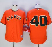 "Wholesale Cheap Giants #40 Madison Bumgarner Orange Old Style ""Giants"" Stitched MLB Jersey"