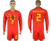 Wholesale Cheap Belgium #2 Alderweireld Red Home Long Sleeves Soccer Country Jersey