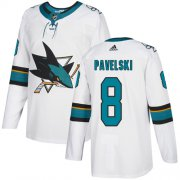 Wholesale Cheap Adidas Sharks #8 Joe Pavelski White Road Authentic Stitched Youth NHL Jersey