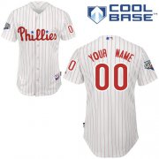 Wholesale Cheap Phillies Personalized Authentic White Red Strip w/2009 World Series Patch Cool Base MLB Jersey (S-3XL)