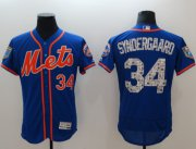 Wholesale Cheap Mets #34 Noah Syndergaard Blue 2018 Spring Training Authentic Flex Base Stitched MLB Jersey