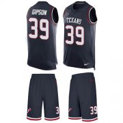 Wholesale Cheap Nike Texans #39 Tashaun Gipson Navy Blue Team Color Men's Stitched NFL Limited Tank Top Suit Jersey