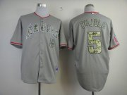 Wholesale Cheap Angels of Anaheim #5 Albert Pujols Grey USMC Cool Base Stitched MLB Jersey