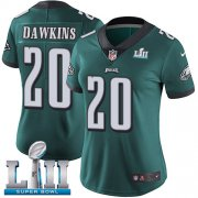 Wholesale Cheap Nike Eagles #20 Brian Dawkins Midnight Green Team Color Super Bowl LII Women's Stitched NFL Vapor Untouchable Limited Jersey