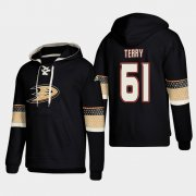 Wholesale Cheap Anaheim Ducks #61 Troy Terry Black adidas Lace-Up Pullover Hoodie