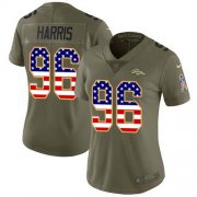 Wholesale Cheap Nike Broncos #96 Shelby Harris Olive/USA Flag Women's Stitched NFL Limited 2017 Salute To Service Jersey