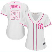 Wholesale Cheap Yankees #29 Gio Urshela White/Pink Fashion Women's Stitched MLB Jersey