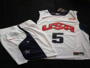 Wholesale Cheap 2012 Olympics Team USA 5 Kevin Durant White Basketball Suit