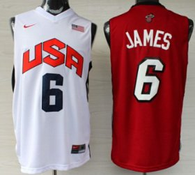 Wholesale Cheap Miami Heat/Team USA #6 LeBron James Revolution 30 Swingman White/Red Two Tone Jersey