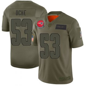 Wholesale Cheap Nike Patriots #53 Josh Uche Camo Men\'s Stitched NFL Limited 2019 Salute To Service Jersey