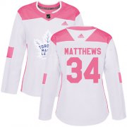 Wholesale Cheap Adidas Maple Leafs #34 Auston Matthews White/Pink Authentic Fashion Women's Stitched NHL Jersey