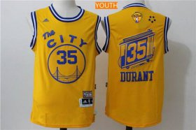Wholesale Cheap Men\'s Golden State Warriors #35 Kevin Durant Yellow The City Revolution 30 Swingman 2017 The NBA Finals Patch Jersey
