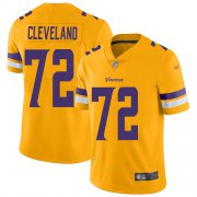 Wholesale Cheap Nike Vikings #72 Ezra Cleveland Gold Men's Stitched NFL Limited Inverted Legend Jersey