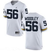 Wholesale Cheap Men's Michigan Wolverines #56 LaMarr Woodley White Stitched College Football Brand Jordan NCAA Jersey