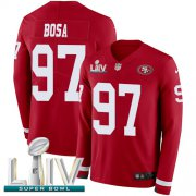 Wholesale Cheap Nike 49ers #97 Nick Bosa Red Super Bowl LIV 2020 Team Color Men's Stitched NFL Limited Therma Long Sleeve Jersey