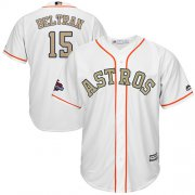 Wholesale Cheap Astros #15 Carlos Beltran White 2018 Gold Program Cool Base Stitched Youth MLB Jersey