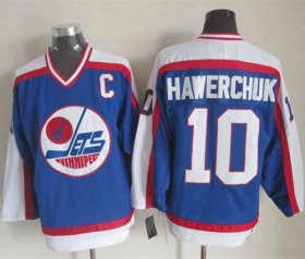 Wholesale Jets #10 Dale Hawerchuk Blue/White CCM Throwback Stitched NHL Jersey