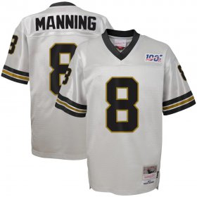 Wholesale Cheap Youth New Orleans Saints #8 Archie Manning Mitchell & Ness Platinum NFL 100 Retired Player Legacy Jersey