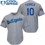 Wholesale Cheap Dodgers #10 Justin Turner Grey Cool Base 2018 World Series Stitched Youth MLB Jersey