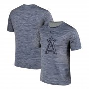 Wholesale Cheap Nike Los Angeles Angels Gray Black Striped Logo Performance T-Shirt