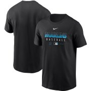 Wholesale Cheap Men's Miami Marlins Nike Black Authentic Collection Team Performance T-Shirt