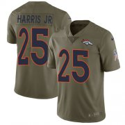 Wholesale Cheap Nike Broncos #25 Chris Harris Jr Olive Youth Stitched NFL Limited 2017 Salute to Service Jersey