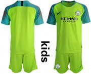 Wholesale Cheap Manchester City Blank Shiny Green Goalkeeper Kid Soccer Club Jersey