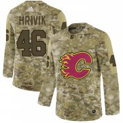 Wholesale Cheap Adidas Flames #46 Marek Hrivik Camo Authentic Stitched NHL Jersey