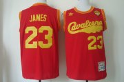 Wholesale Cheap Men's Cleveland Cavaliers #23 LeBron James 2017 The NBA Finals Patch 2009 Red Hardwood Classics Soul Swingman Throwback Jersey