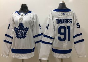 Wholesale Cheap Adidas Maple Leafs #91 John Tavares White Road Authentic Women\'s Stitched NHL Jersey