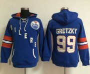 Wholesale Cheap Edmonton Oilers #99 Wayne Gretzky Light Blue Women's Old Time Heidi NHL Hoodie