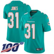 Wholesale Cheap Nike Dolphins #31 Byron Jones Aqua Green Team Color Men's Stitched NFL 100th Season Vapor Untouchable Limited Jersey