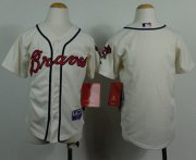 Wholesale Cheap Braves Blank Cream Cool Base Stitched Youth MLB Jersey